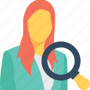 applicant, female, human resource, personnel search, search icon