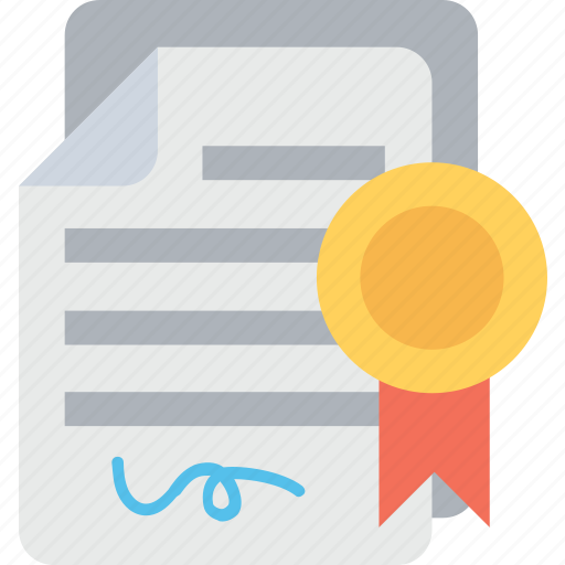 certificate, certification, deed, degree, diploma icon