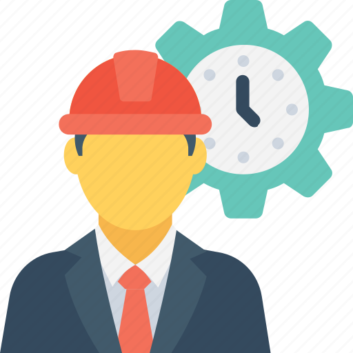 engineer, labour, punctual, timer, worker icon