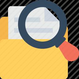 documents, find folder, folder, magnifier, paper icon