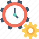 cog, management, preferences, stopwatch, time management icon