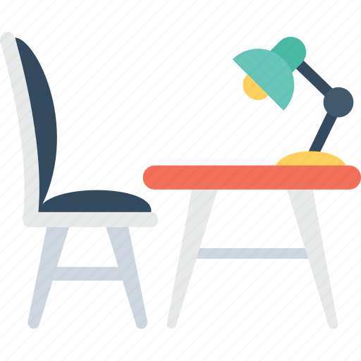 chair, desk, lamp, table, work table icon