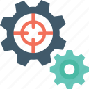 cog, focus, management, preferences, target icon