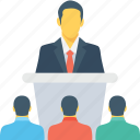 convention, lecture, presentation, speaker, speech icon