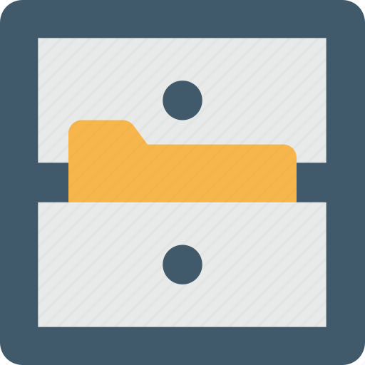 archives, drawer, file cabinet, file folders, storage icon