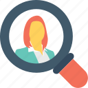 find, human resource, personnel, search, staff icon