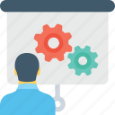 cogwheel, conference, lecture, presentation, training icon
