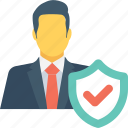 avatar, businessman, male, security, shield icon