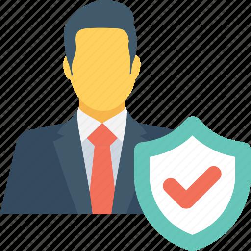 avatar, businessman, male, security, shield icon