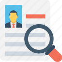 cv, find resource, magnifier, profile, resume icon