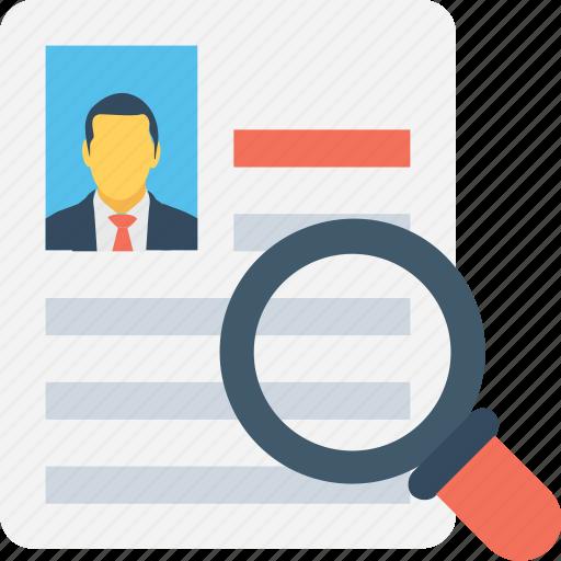 cv, find resource, magnifier, profile, resume icon