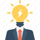 bulb, business, idea, light, thunder icon