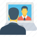 collaboration, communication, dialogue, laptop, video call icon