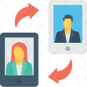communication, mobile, profile, smartphone, video call icon