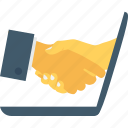 business, deal, online deal, partner, shake hand icon
