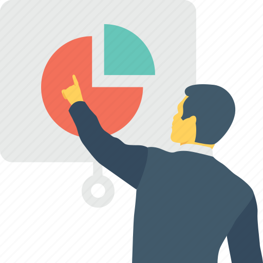 business, lecture, pie graph, presentation, training icon