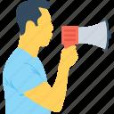 ad, advert, bullhorn, hailer, megaphone icon