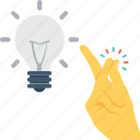 bulb, hand, idea, light, pinch icon