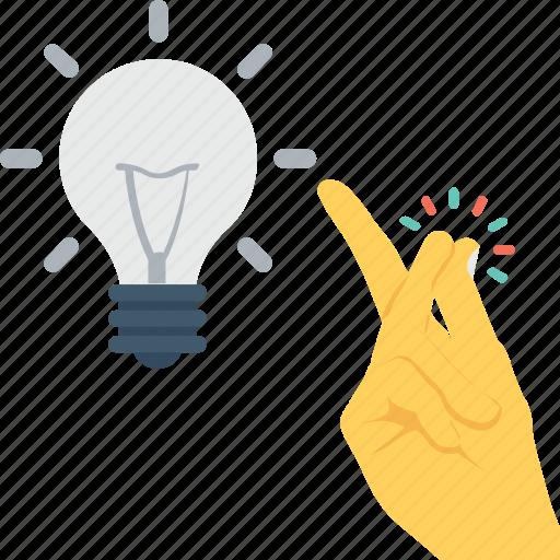 bulb, hand, idea, light, pinch icon