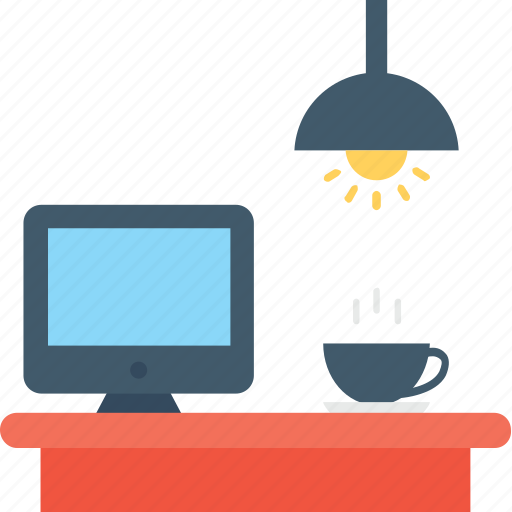 lamp, light, monitor, table, workstation icon
