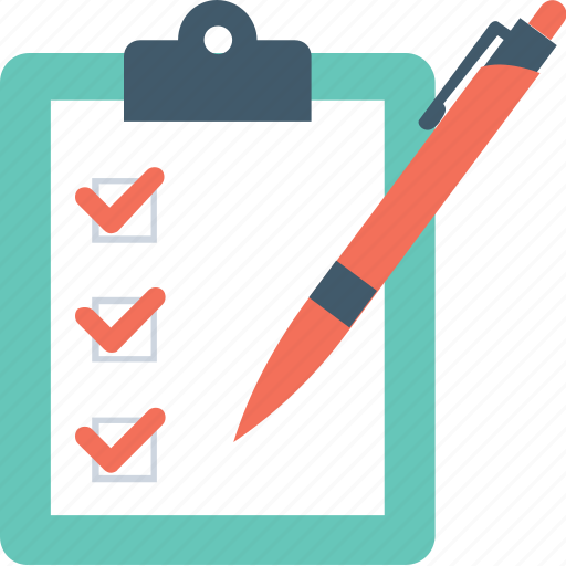 checklist, checkmark, clipboard, pencil, tick icon