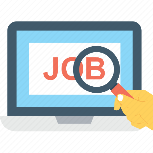 find, job, laptop, magnifier, search icon