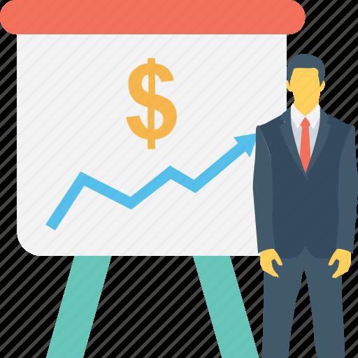 chart, diagram, dollar, graph, presentation icon
