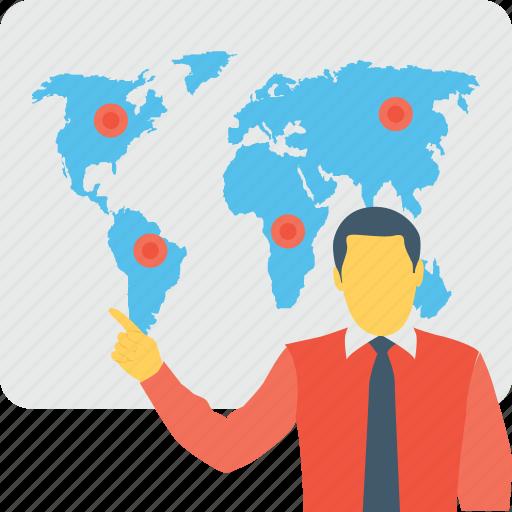 geography, map, presentation, seminar, worldwide icon