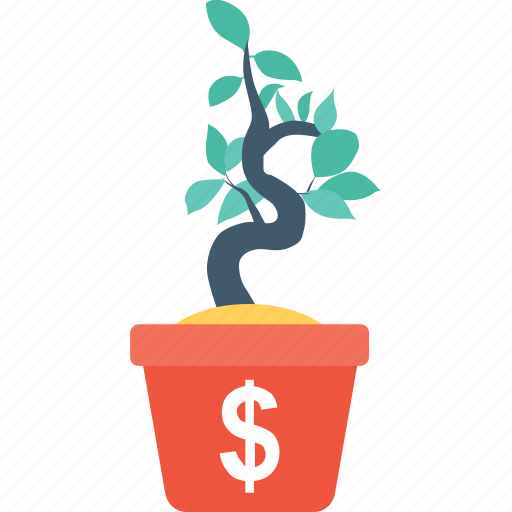 dollar, growth, money, money plant, plant icon