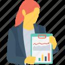 chart, female, graph, presentation, tutor icon