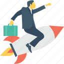 businessman, missile, rocket, startup, success icon