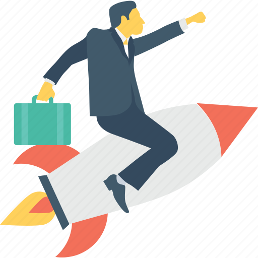 businessman, missile, rocket, startup, success icon