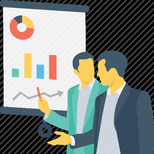 business, lecture, pie graph, presentation, training icon