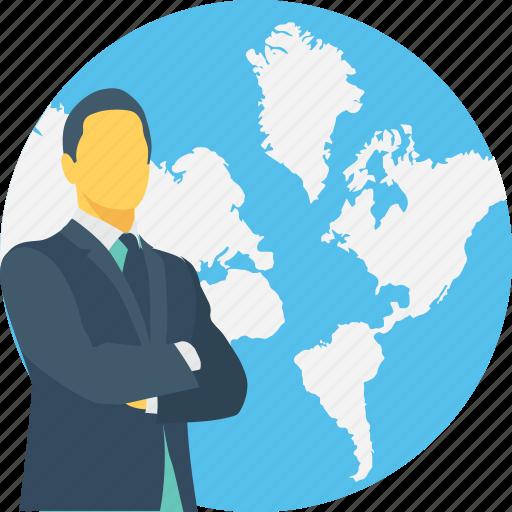 around the world, businessman, global, globe, international icon
