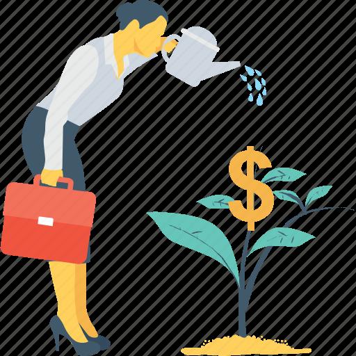 business, dollar, money, money growth, plant icon