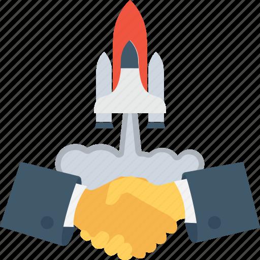 deal, handshake, missile, rocket, startup icon