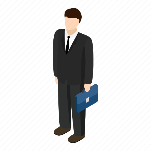 blue, briefcase, business, businessman, isometric, man, person icon