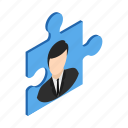 business, concept, idea, isometric, puzzle, solution, success icon