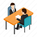 businessman, employee, interview, isometric, job, meeting, office icon