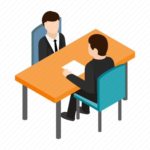 businessman, employee, interview, isometric, job, meeting, office icon