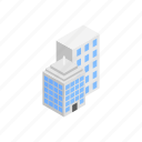 architecture, building, business, cartoon, city, isometric, office icon