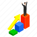 business, isometric, man, success, victory, win, winner icon