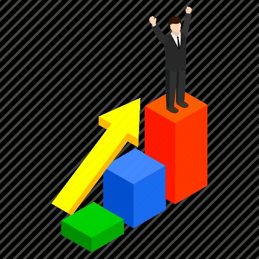 business, isometric, man, success, victory, win, winner icon