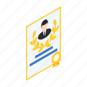 award, best, business, certificate, employee, isometric, success icon