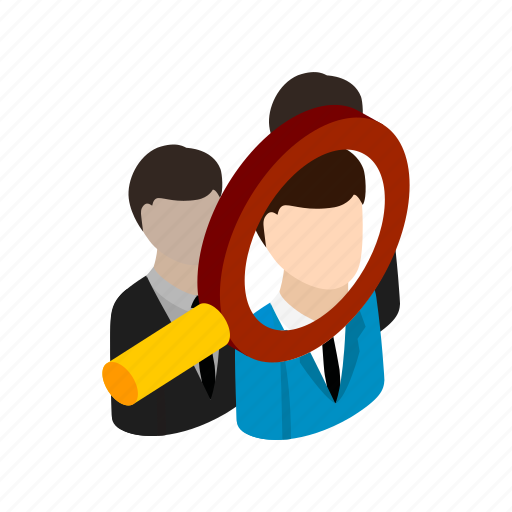 business, businessman, glass, isometric, magnify, magnifying, search icon