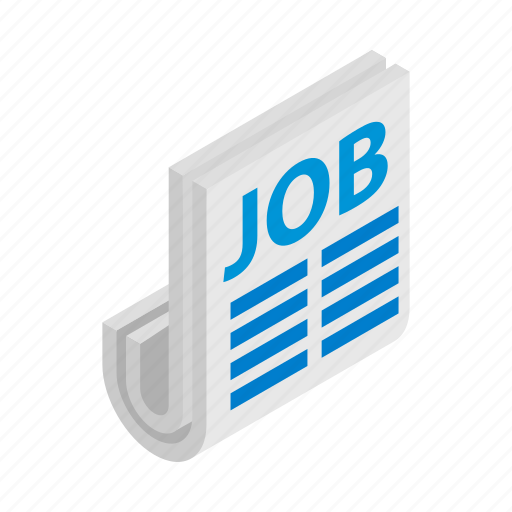 employment, isometric, job, newspaper, paper, search, vacancy icon