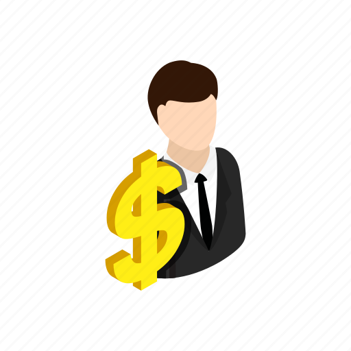 business, businessman, concept, dollar, finance, isometric, money icon