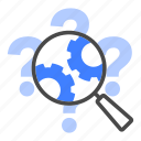 magnifier, discovery, research, analysis, searching, question icon