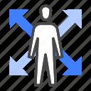 adapt, balance, commitment, flexibility, morale, trust, work icon