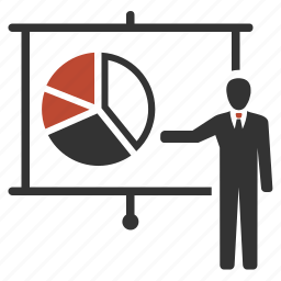 blackboard, chart, pie, presentation, progress icon